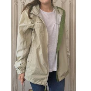 • columbia tan and cream women's rain jacket •